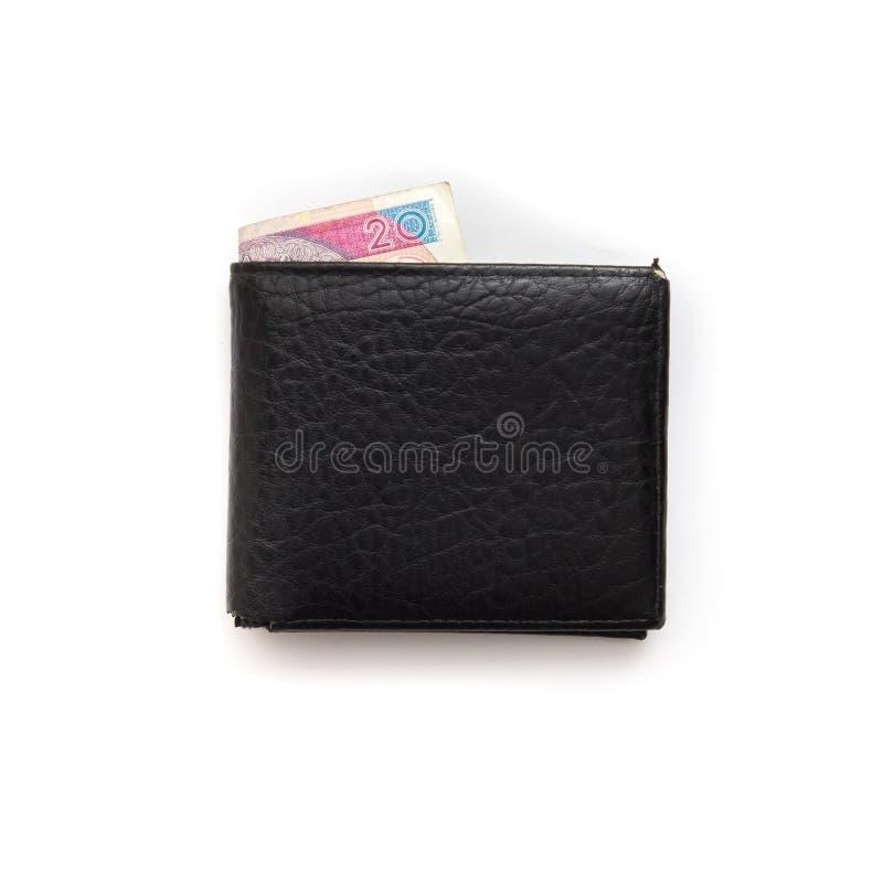 Черный бумажник вполне денег стоковая фотография rf