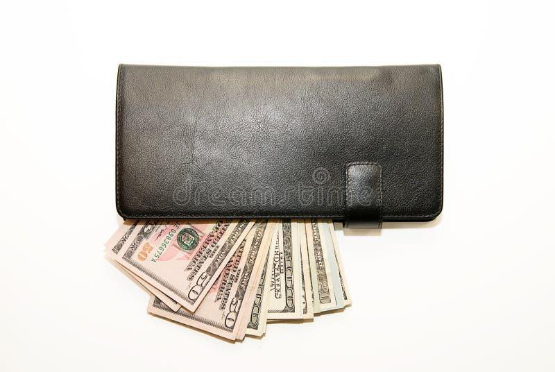 Черный бумажник с банкнотами долларов США внутрь стоковое фото rf