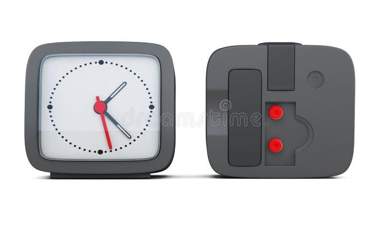 Черный будильник при 2 стороны изолированной на белой предпосылке бесплатная иллюстрация