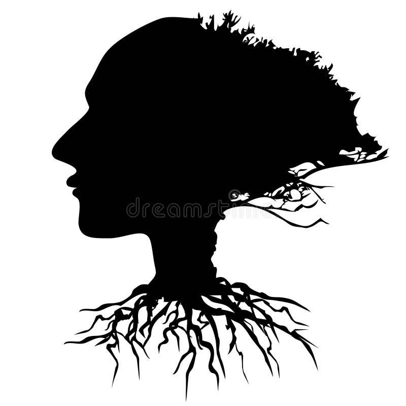 Черный вектор дерева человеческой головы иллюстрация вектора