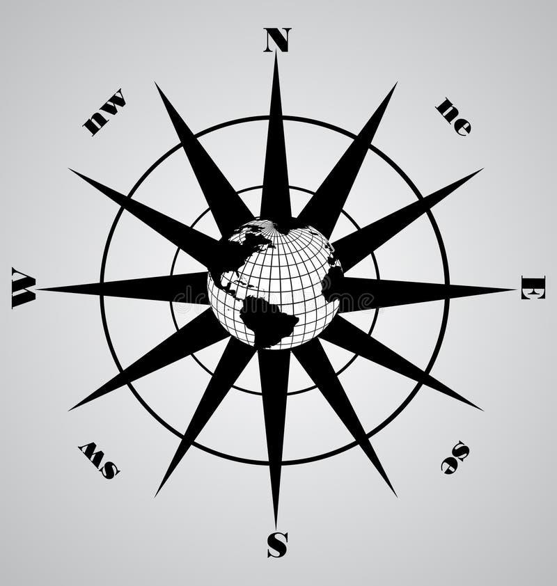 черный вектор компаса иллюстрация штока
