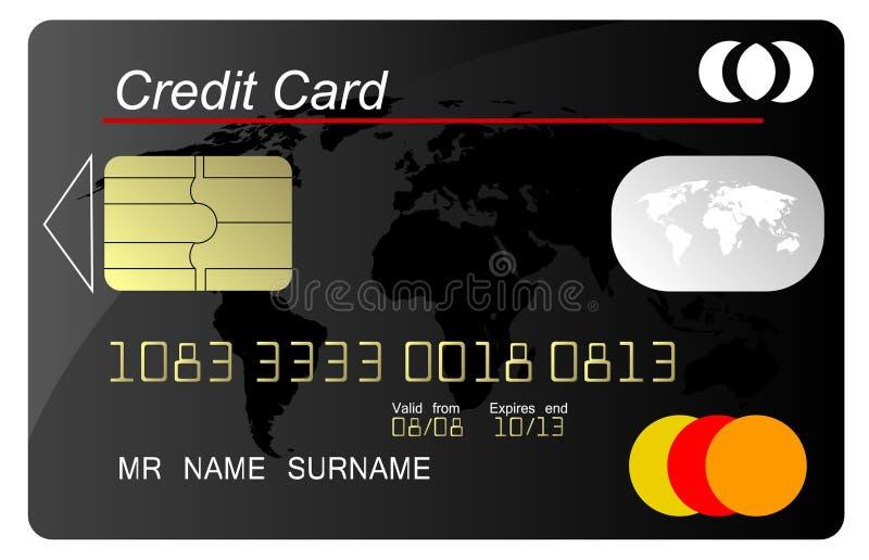 черный вектор кредита карточки иллюстрация штока
