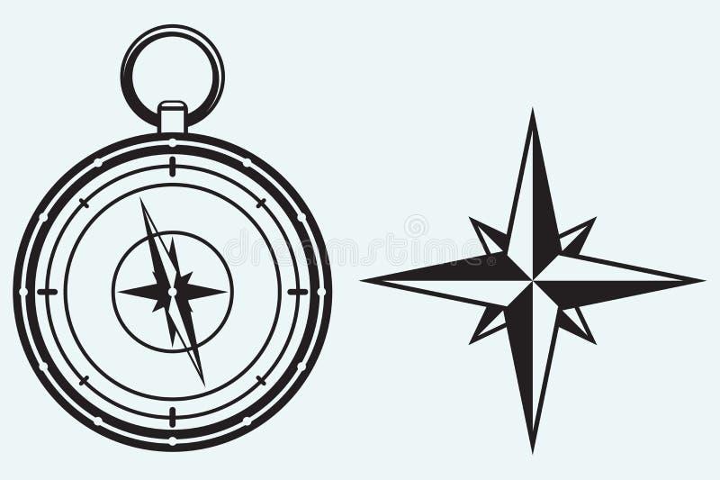 Черный ветер розовый и компас иллюстрация вектора