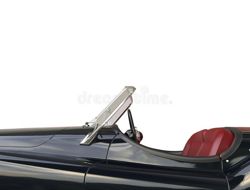 Черный винтажный автомобильный конец сиденья водителя вверх иллюстрация вектора