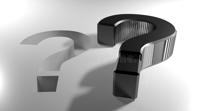 Черный вопросительный знак, который нужно ввести в свое отверстие - перевод 3D бесплатная иллюстрация
