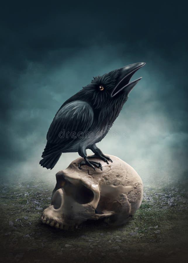 черный ворон иллюстрация штока