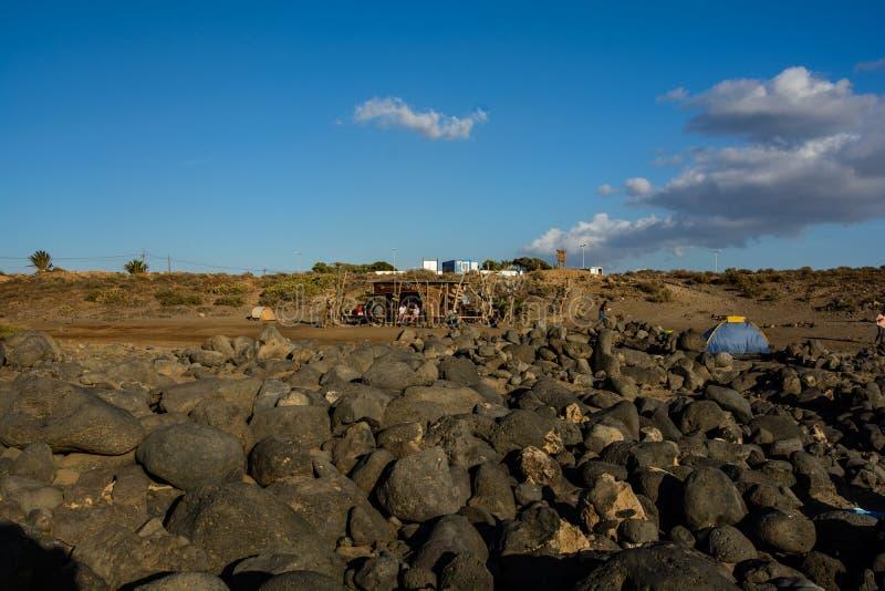 Черный вулканический туф на острове Тенерифе около Las Galletas стоковое фото rf