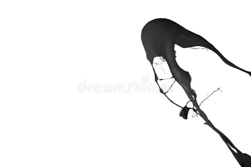 Черный выплеск краски изолированный на белой предпосылке стоковые изображения rf