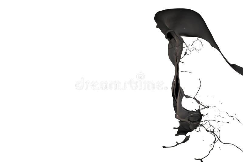 Черный выплеск краски изолированный на белой предпосылке стоковое фото