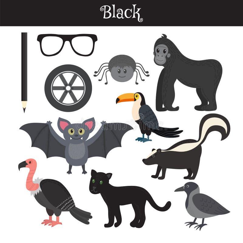 черный Выучите цвет Комплект образования Иллюстрация основного c иллюстрация штока