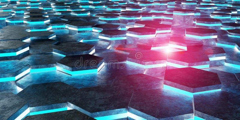Черный голубой и розовый перевод картины 3D предпосылки шестиугольников иллюстрация штока