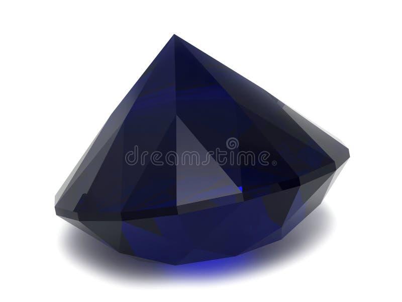 черный голубой сапфир gemstone иллюстрация вектора