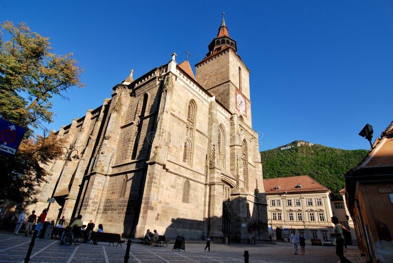 черный город европа церков brasov стоковые изображения rf