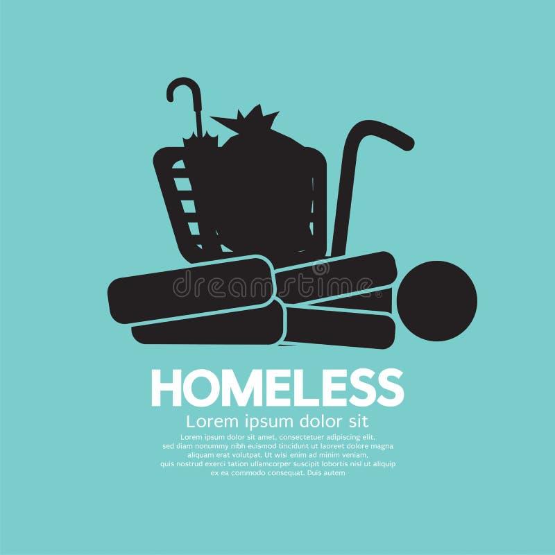 Черный график символа бездомные как иллюстрация штока