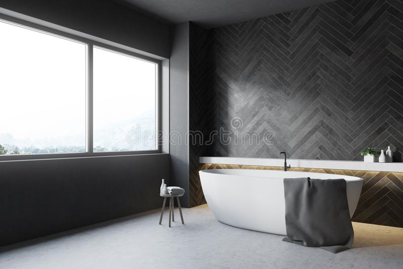Черный деревянный угол ванной комнаты, круглый ушат бесплатная иллюстрация