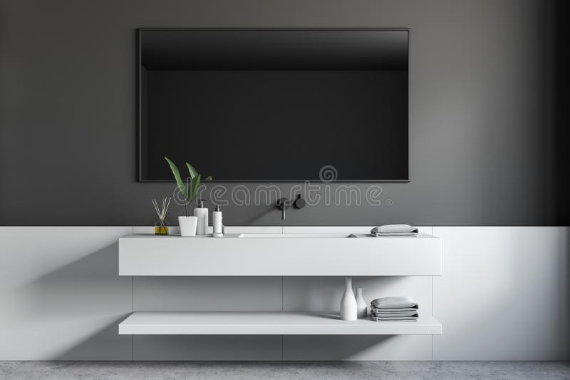 Черный деревянный угол bathroom, белый ушат и раковина бесплатная иллюстрация
