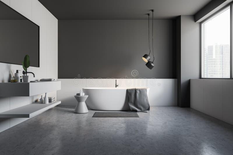 Черный деревянный угол bathroom, белый ушат и раковина иллюстрация штока