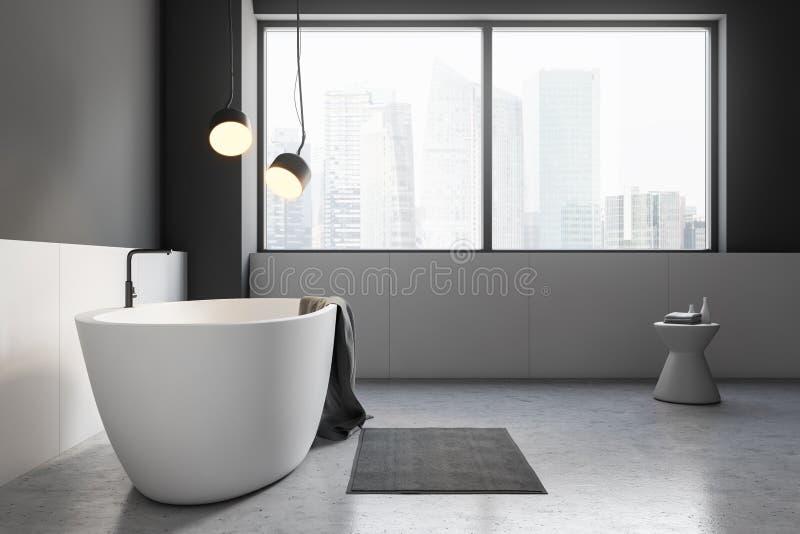 Черный деревянный угол bathroom, белый ушат и раковина иллюстрация вектора