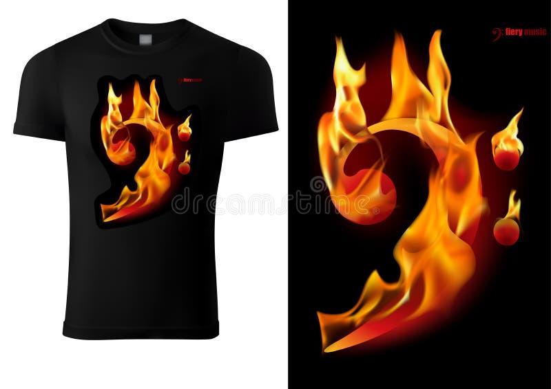 Черный дизайн футболки с вздохом музыки пылать иллюстрация штока