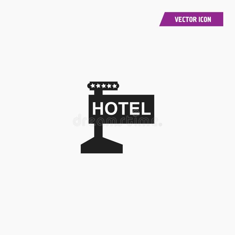 Черный дорожный знак гостиницы с доской направления иллюстрация вектора