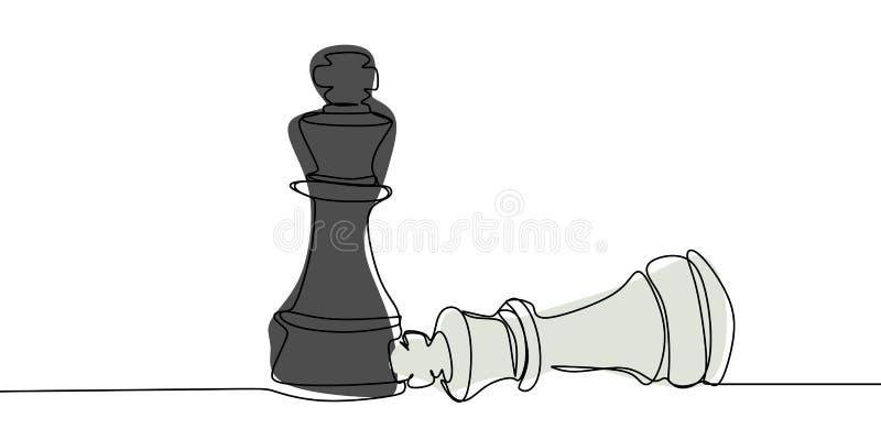 Черный епископ против белой одной линии дизайна концепции шахматов иллюстрации вектора чертежа минималистского иллюстрация вектора