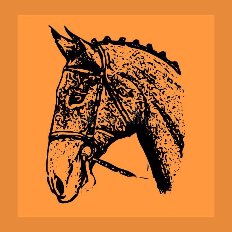 Черный жеребец богато украшенный-силуэта Голова в оранжевой рамке, иллюстрация вектора
