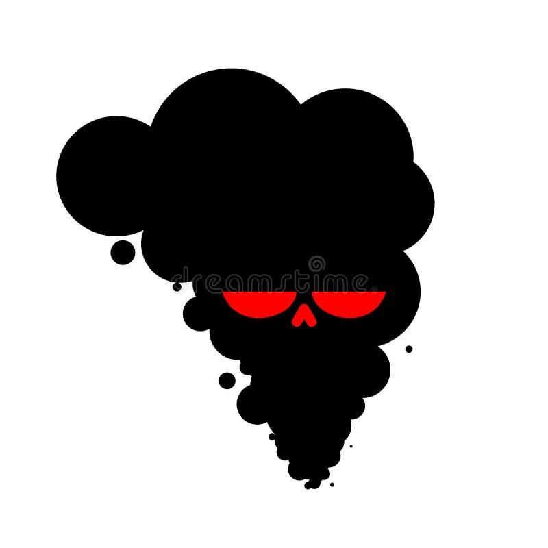 Черный завод черепа дыма смерть всего живого существа работы poi иллюстрация штока