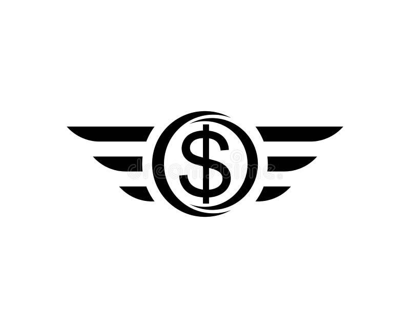 черный знак летая доллара с изолированной крыльями иллюстрацией вектора иллюстрация вектора
