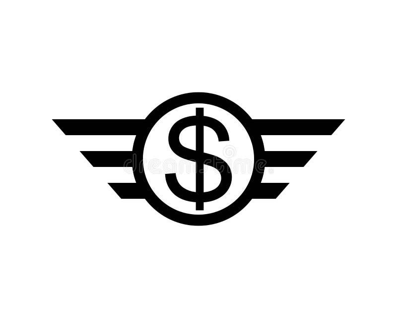 черный знак летая доллара с изолированной крыльями иллюстрацией вектора иллюстрация штока