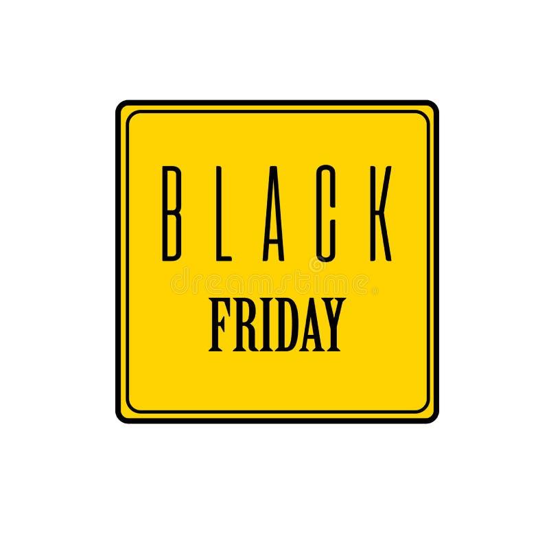Черный знак продажи пятницы Черный текст на желтой предпосылке Значок сети изолированный на белой предпосылке также вектор иллюст бесплатная иллюстрация