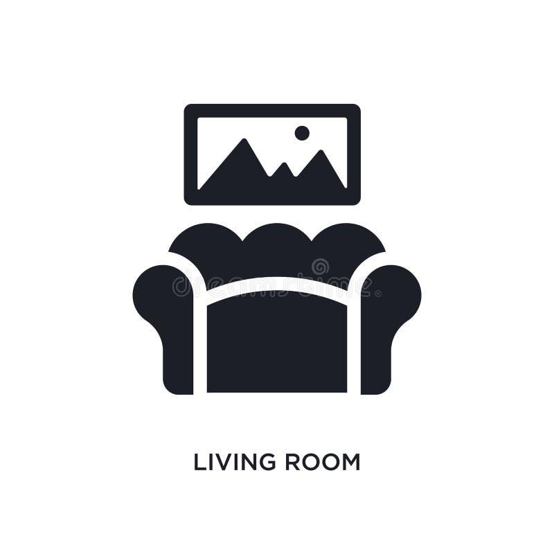 черный значок вектора живущей комнаты изолированный простая иллюстрация элемента от значков вектора концепции мебели живущая комн бесплатная иллюстрация