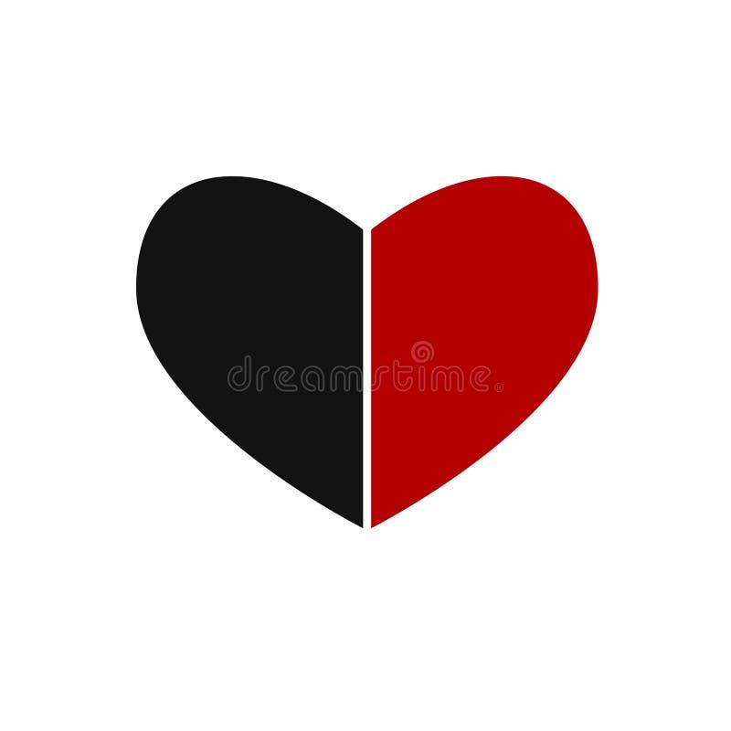 Черный значок вектора сердца Широкая картина сердца Сердце разделено в 2 половины бесплатная иллюстрация