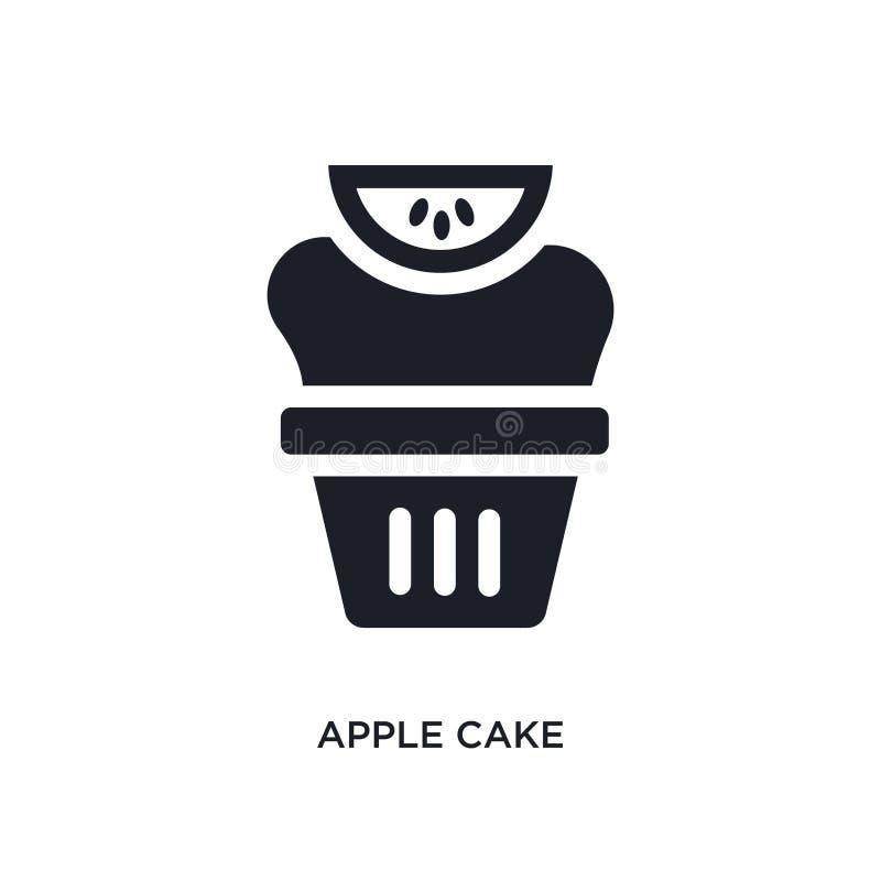 черный значок вектора торта яблока изолированный простая иллюстрация элемента от значков вектора концепции вероисповедания логоти иллюстрация вектора