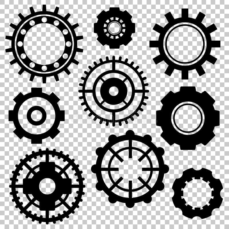 Черный значок колеса шестерни установил на прозрачную предпосылку Символ технологических или машинного оборудования Промышленное  иллюстрация штока