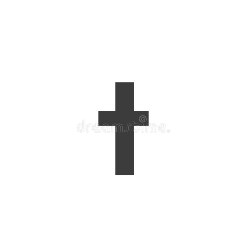 Черный значок креста христианства на белизне бесплатная иллюстрация