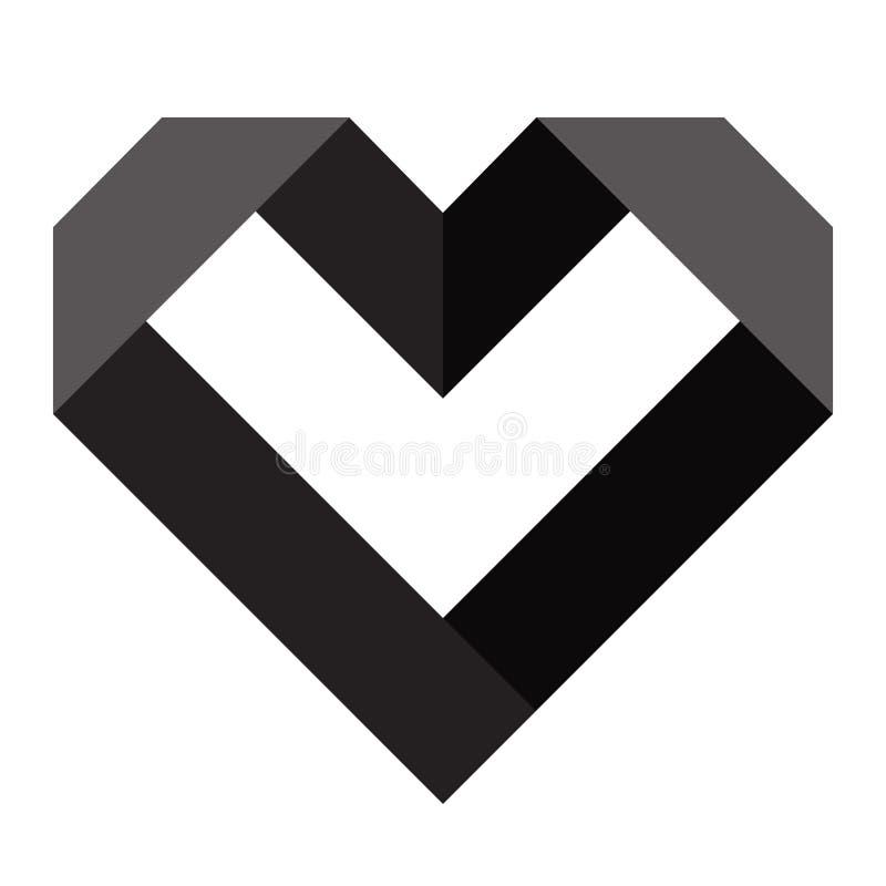 Черный значок сердца, значок любов иллюстрация штока