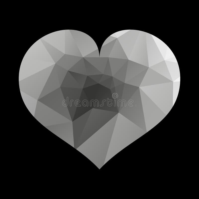 Черный значок сердца Простой триангулярный знак сердца, изолированный на белой предпосылке Символ сердца Символ любов иллюстрация вектора
