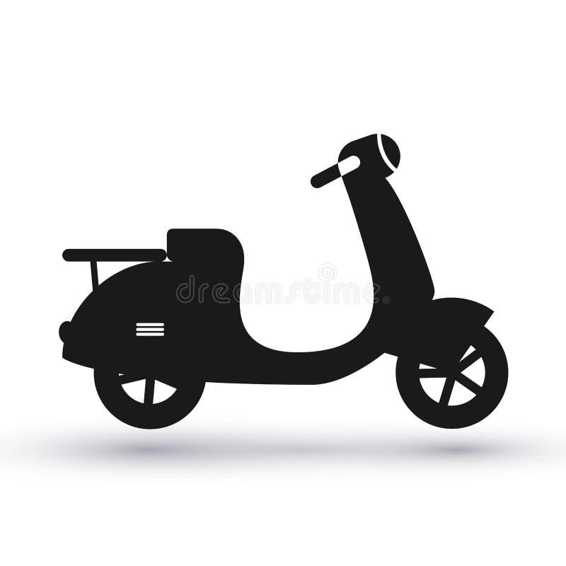 Черный значок скутера иллюстрация вектора