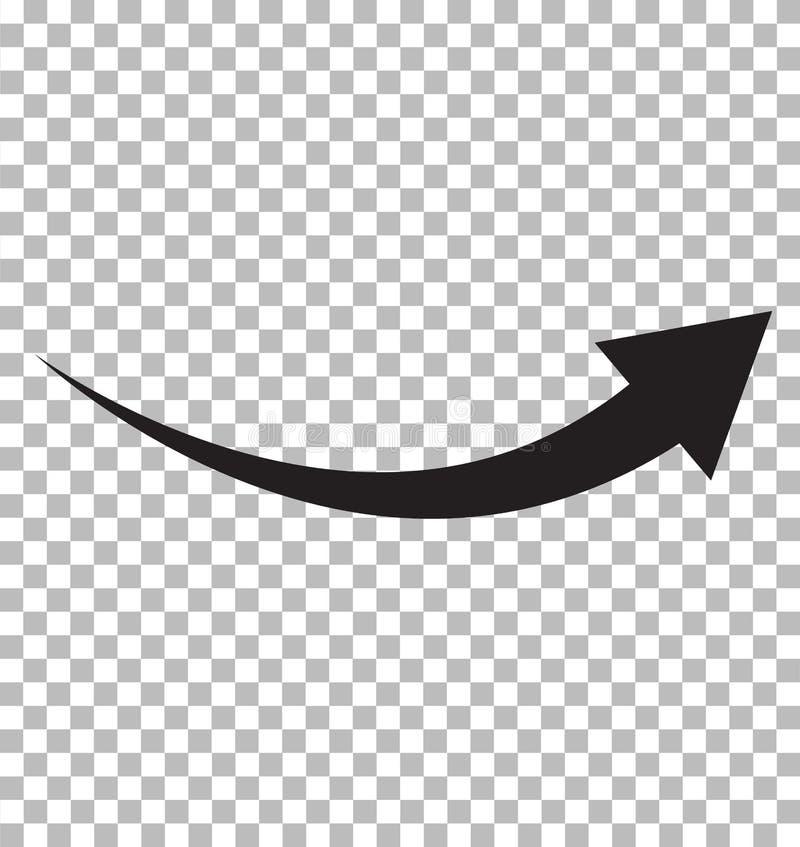 Черный значок стрелки на прозрачной предпосылке Плоский стиль концепция логотипа стрелки значок для вашего дизайна вебсайта, лого иллюстрация вектора
