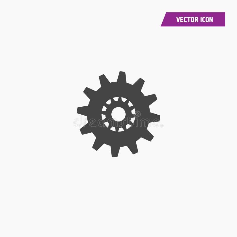Черный значок установок с дополнительным значком шестерней иллюстрация вектора