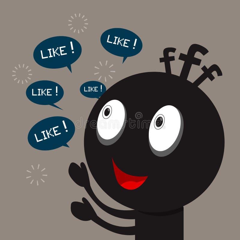 Черный изверг с социальной сетью бесплатная иллюстрация