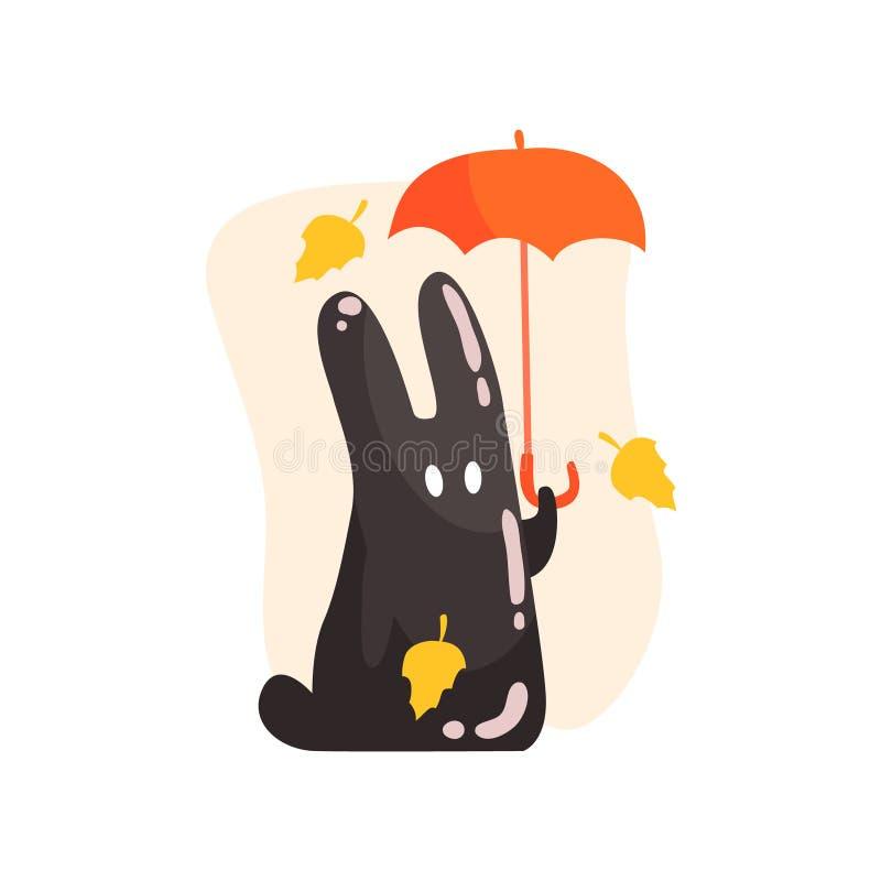 Черный изверг формы кролика студня смолки держа оранжевый зонтик под понижаясь желтым цветом выходит Outdoors в сезон осени иллюстрация штока