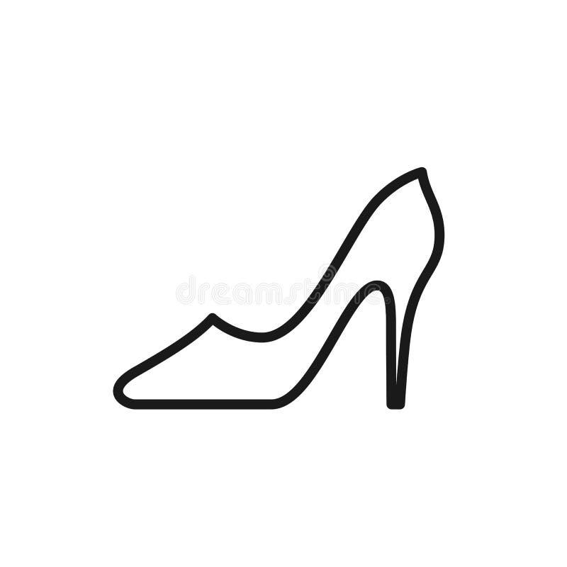 Черный изолированный значок плана ботинка с пяткой для женщин на белой предпосылке Линия значок ботинка иллюстрация вектора