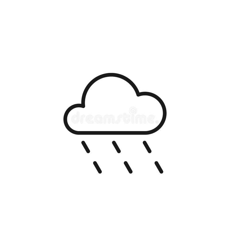 Черный изолированный значок плана облака с дождем на белой предпосылке Линия значок дождливого облака иллюстрация вектора