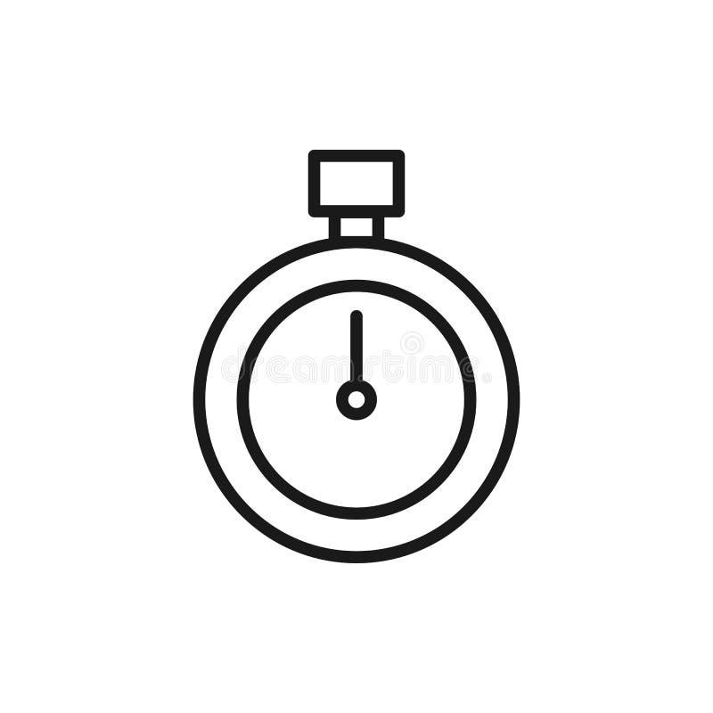 Черный изолированный значок плана секундомера на белой предпосылке Линия значок секундомера иллюстрация вектора