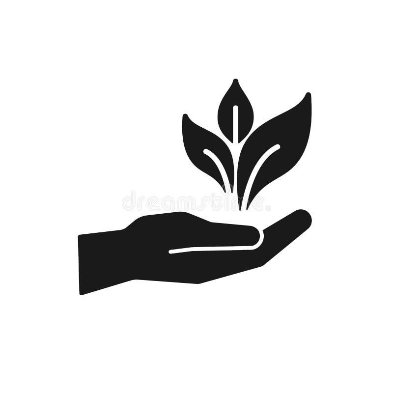 Черный изолированный значок руки с лист, заводом на белой предпосылке Силуэт руки с лист Био, eco, садовничая иллюстрация штока