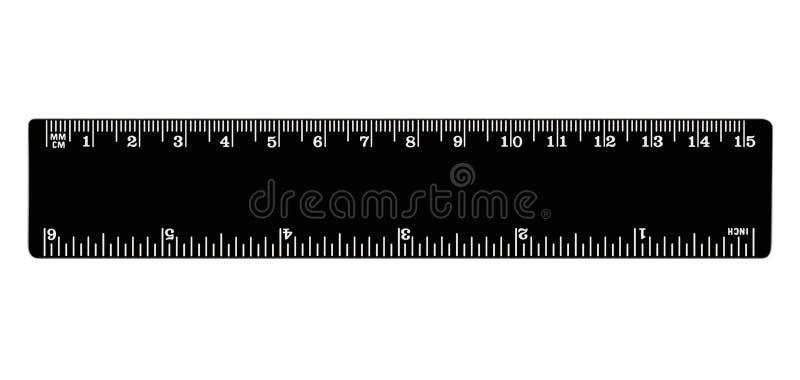 Черный изолированный правитель, дюймы, сантиметры, milimeters, имперские и метрические блоки длины расстояния, см и метки mm, дет стоковая фотография