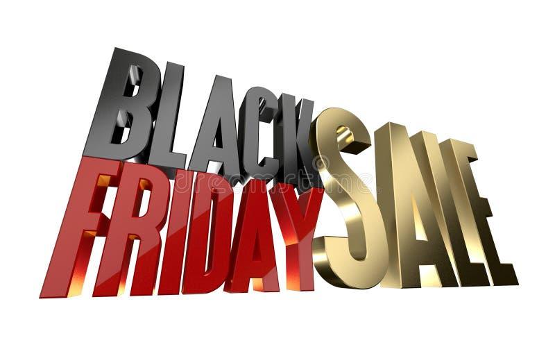 Черный изолят перевода продажи 3d пятницы на белизне иллюстрация штока