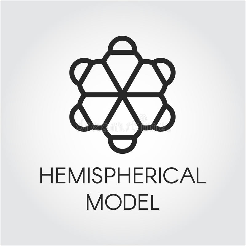 Черный линейный значок полусферической модели Ярлык контура химической серии ярлык Полу-сферы молекулярный сеть вектора логоса гл бесплатная иллюстрация