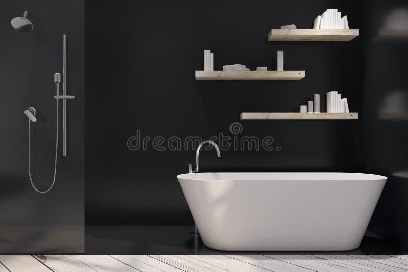 Черный интерьер ванной комнаты иллюстрация штока